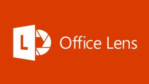 """Imagen del logotipo de la aplicación Office Lens, compuesto por las palabras Office Lens y un logotipo formado por un cuadrado, una """"L"""" y el objetivo de una cámara"""