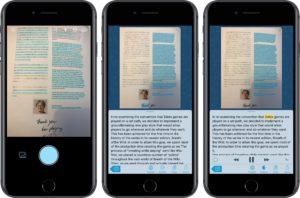 Imagen en la que se observa tres móviles, cada uno de ellos con una captura de las distintas pantallas de esta aplicación