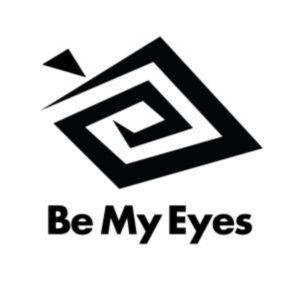 Imagen del logotipo de la aplicación Be My Eyes, compuesto por una especie de espiral que conforma la silueta de un ojo, debajo del cual aparece el nombre de la aplicación