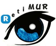 """Imagen del logotipo de la Asociación Retina Murcia RETIMUR, compuesto por el dibujo de un ojo perfilado en color negro y con el iris de color azul. En la parte superior de este ojo, siguiendo su curvatura, está escrito el nombre RETIMUR en letras negras. La """"R"""" inicial está escrita en blanco, dentro de un cuadrado con el fondo de color azul."""