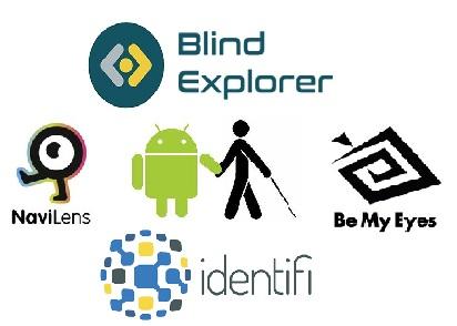 Imagen de un collage en el que aparecen los logotipos de las aplicaciones Blind Explorer, Identifi, Be My Eyes, Navilens, y en medio de todos ellos, un dibujo del robot de Android que va guiando de la mano al muñequito del logotipo de la ONCE.